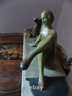 Statue Art Nouveau Art Deco Femme Et Mouton