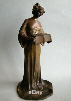 Statue Femme Art Nouveau Hans Muller Vienna Austria Woman Sculpture Jugendstil