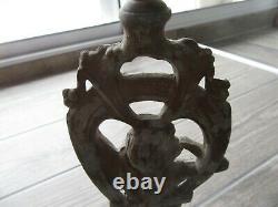 Statue Metal 1900 Art Nouveau Lampe Tres Ancienne Femme