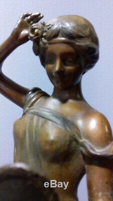 Statue Regule Femme 1900 Art Nouveau Bronze