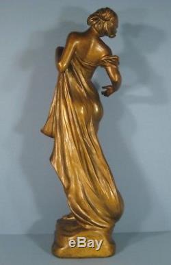 Statue Sculpture En Régule Femme Fleur Style Art Nouveau Signée De Ranieri