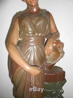 Statue Terre Cuite Et Platre Polychrome Art Nouveau 1900 Femme A La Cruche Deco