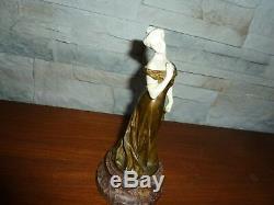 Statue bronze chryselephantine art nouveau- portrait de femme-signature