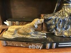 Statue chryséléphantine femme aux chiens marbre régule années 1900-1920