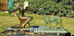 Statue regule chryséléphantine art nouveau Femme Elegante au levrier ROGGIA