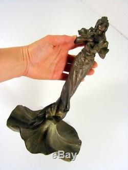 Statuette Art Nouveau Régule à Patine Verte Jeune Femme pas signée