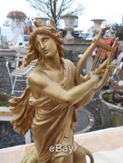 Statuette Femme A La Harpe Epoque Art Nouveau En Regule