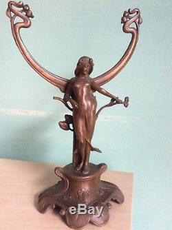 Statuette Femme Art Nouveau Régule Patine Bronze vers 1900 Etat Sup Haut 27 cm