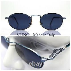 Sting 4199 Made IN Italy Lunettes de Soleil Homme Femme Octogonale Bleu Punk 90