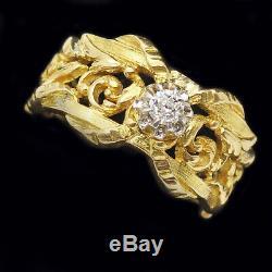 Style Ancien Bague Art Nouveau Français Homme Femme or Diamant Spirales Ouvert
