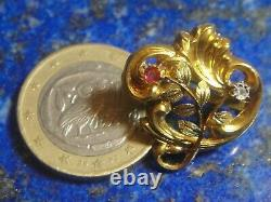 Sublime Boucle à ruban ancienne Art Nouveau Or Gold 18k 750 Diamant Rubis 2,05g