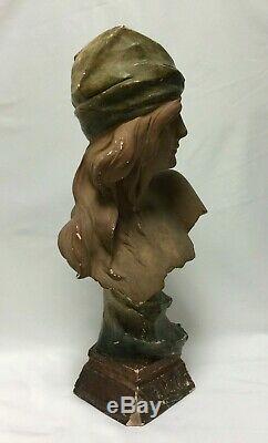 Sujet En Platre LILI 1900 Art Nouveau N 348 Buste Femme Signe En L Etat H1137