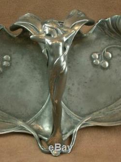 Superbe Coupe Mendiant En Metal Wmf Art Nouveau Decor De Femme