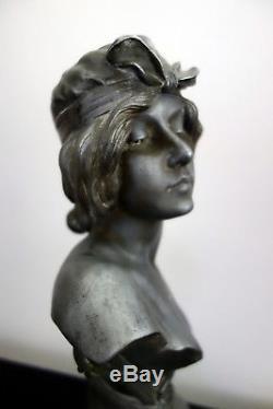 Superbe Et Grand Buste D'une Jeune Femme Étain Signé De Ranieri Art Nouveau 1900