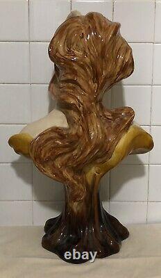 Superbe Grand Buste de Femme en Céramique de Style Art-nouveau, Modern Style