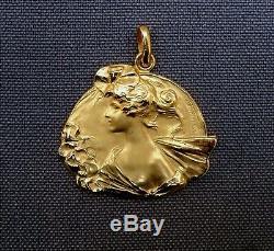 Superbe Medaille Pendentif Art Nouveau, Femme, Nymphe, Dryade, Van Der Strate