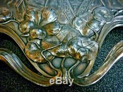 Superbe Plateau Ancien Art Nouveau Wmf Jugenstil Decor De Femmes Fleurs Feuilles