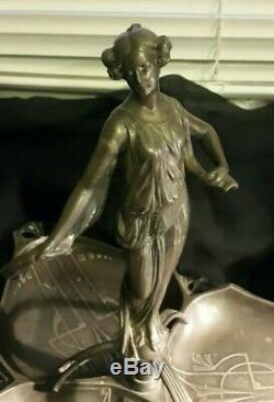 Superbe Serviteur Art Nouveau Femme Nymphe Drappe Metal Peut Être Etain