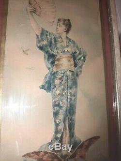 Superbe aquarelle femme japonisant époque art nouveau 1900 mucha impressionniste