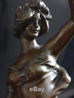 Superbe bronze Art nouveau femme JULIEN CAUSSE 37cm Old jugendstil woman XIX