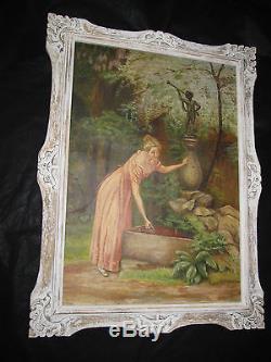 Superbe grande huile 1900 jeune femme à la fontaine