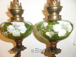 Superbe paire LAMPES A PETROLE FEMMES ART NOUVEAU réservoirs verre émaillé