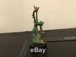 Superbe sculpture métal art nouveau déco, femme nue socle dlg Max leverrier