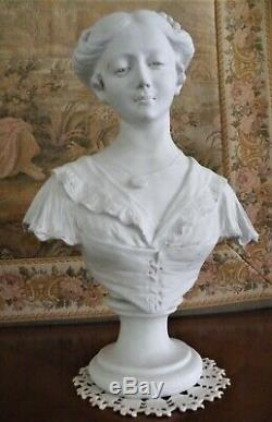 Superbe statue BUSTE FEMME BISCUIT signé A. GORY, SEVRES, Art Nouveau XIX éme