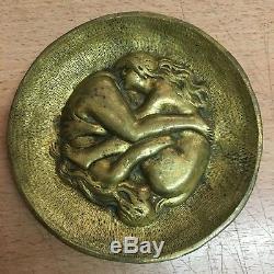 Superbe vide-poche coupelle érotique bronze doré 2 femme art nouveau