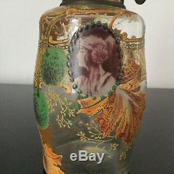 TRES RARE Lampe A Pétrole LEGRAS Décor Emaillé Portraits Femme Art Nouveau 1900