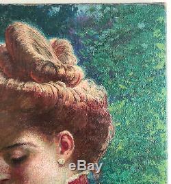 Tableau Huile Portrait Femme Chignon Broche Bijou 1904 Ernest Gugor Art Nouveau