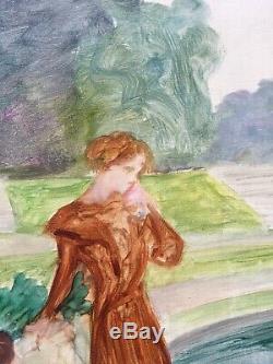 Tableau Huile Scène Femmes Jardin Portrait Alice Kaub-Casalonga Art Nouveau 1900