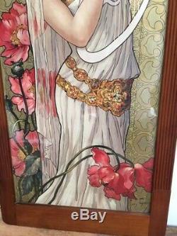 Tableau Lithographie epoque Art Nouveau femme musicienne circa 1900 deco Mucha