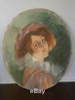 Tableau Pastel Sur Velours Femme Art Nouveau Rene Pean Ancien 1900 Portrait