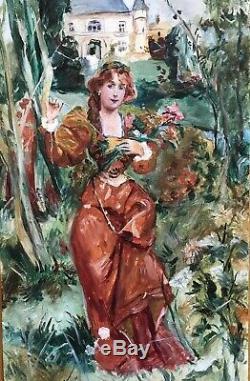Tableau Peinture Huile Portrait Art Nouveau Femme Rousse Château Fleurs Bouquet