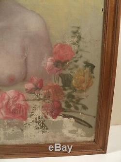 Tableau Portrait Femme Nue aux Roses 1900 Art Nouveau / Nude Fleurs Jugendstil