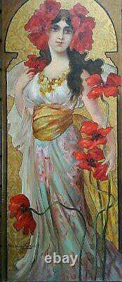 Tableau Portrait de Femme Art Nouveau allégorie de l'Eté, Mary GOLAY