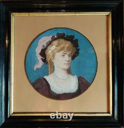 Tableau XIX Eme- Portrait Femme-art Nouveau-illustrateur-tableau-xix Eme