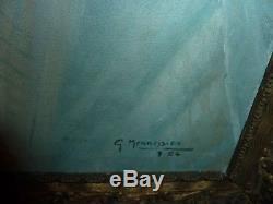Tableau ancien-ecole de nancy art nouveau-jeune femme nue-signature