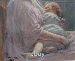 Tableau dessin maternité femme enfant impressionnisme Art Nouveau