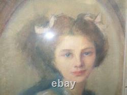 Tableau-dessin/pastel-Portrait jeune femme-Art nouveau-cadre-drawing