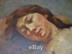 Tableau huile jeune femme Art Nouveau Lorelei par Alfred Finot Ecole de Nancy
