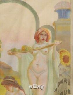 Tableau huile toile paysage symboliste femme nue symbolisme Art Nouveau 1900