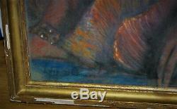 Tableau pastel femme orientale signé Levy Dhurmer art nouveau