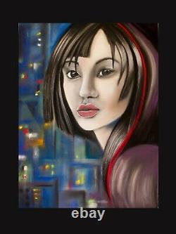 Tableau pastel sec. Portrait de femmes. Dessin au pastel. Peinture