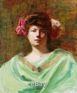 Tableau peintre lyonnais Albert André portrait jeune femme Art Nouveau 1900 LYON