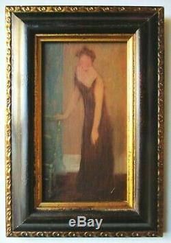 Tableau peinture Huile Femme à la chaise Yvette Guilbert 1900 Art Nouveau