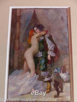 Tableau peinture érotique/n°2- belle femme nue aquarelle originale A Claveau