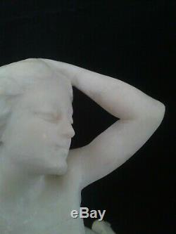 Télémaco CIPRIANI, magnifique SCULPTURE FEMME art Nouveau en ALBATRE. ITALIE