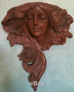 Tête Femme Terre Cuite Art Nouveau Style Goldscheider A Suspendre 40 CM